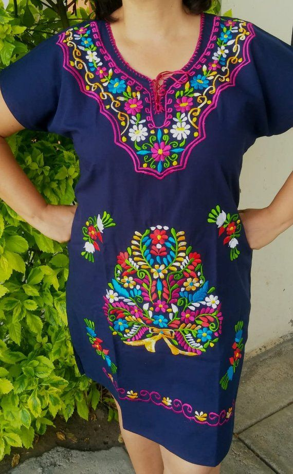 Mexican Embroidered Dress, Black mexican embroidery dress ...