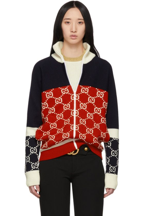 bdaf14762c2 Gucci - Navy   Red GG Zip-Up Sweater