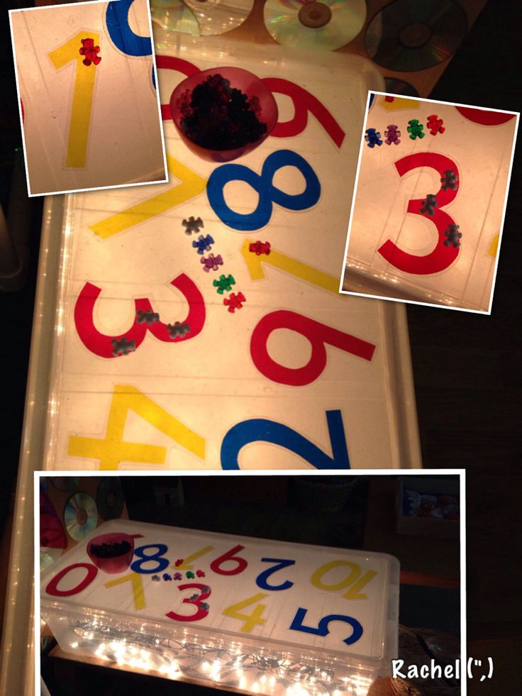 "Teddies & cellophane numbers on the home-made light box... from Stimulating Learning with Rachel ("",)"