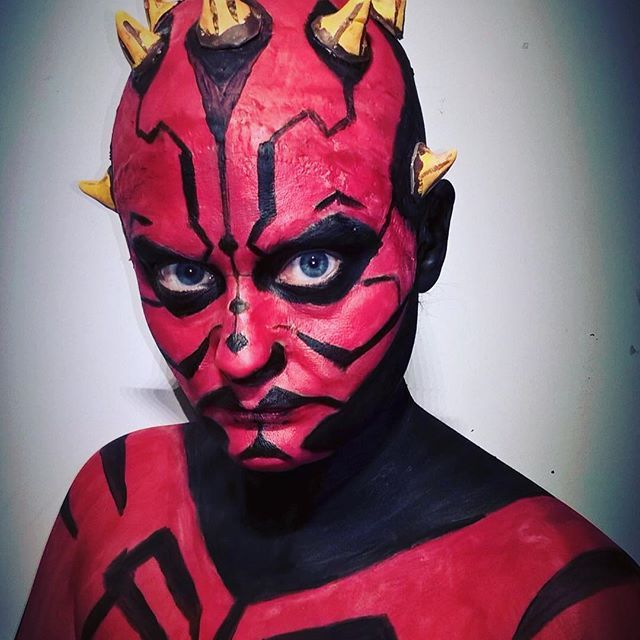Makeup challenge. Day 61 - Dark Maul from Star Wars For more facepaint, sfx, makeup, costume and cosplay picture follow @mycharacterdesign on instagram. Makeup: Kristin Sunde. Model: Kristin Sunde.