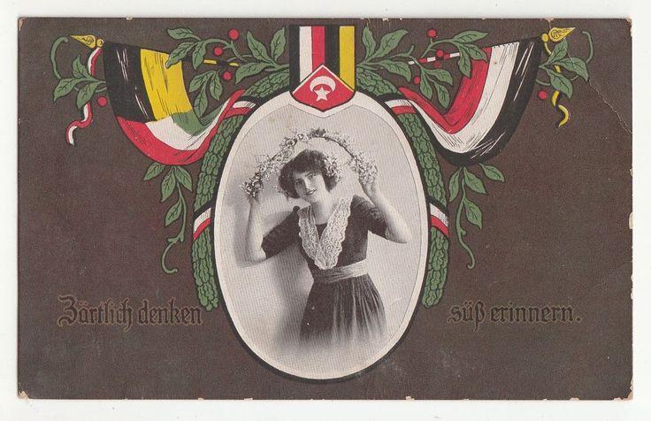 Patriotik Ak Dame Flaggen Fahnen Türkei 1916 IWW !
