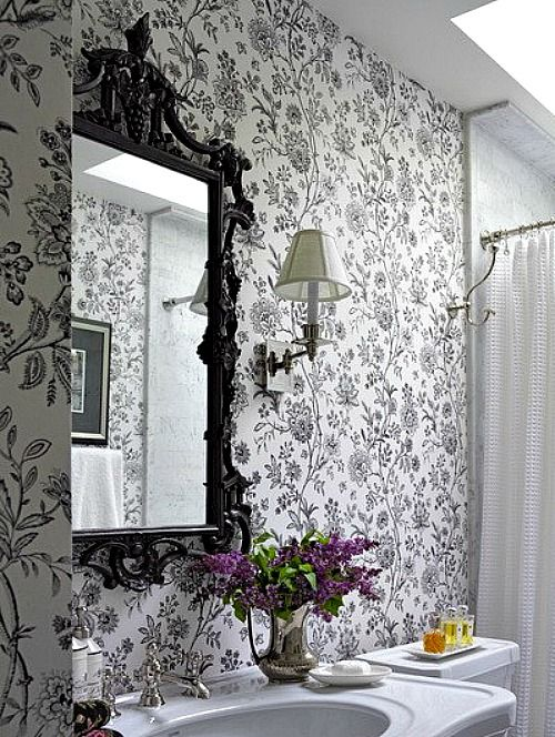 Acorn Cottage wallpapered bathroom: I really like the silver with the black and white wallpaper, but I think I would opt for toile instead of the floral.  Look how important those flowers are here.