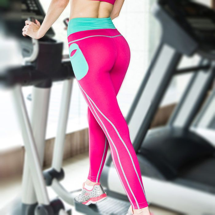 Push Up Spandex Yoga Pants With Side Pocket Patchwork