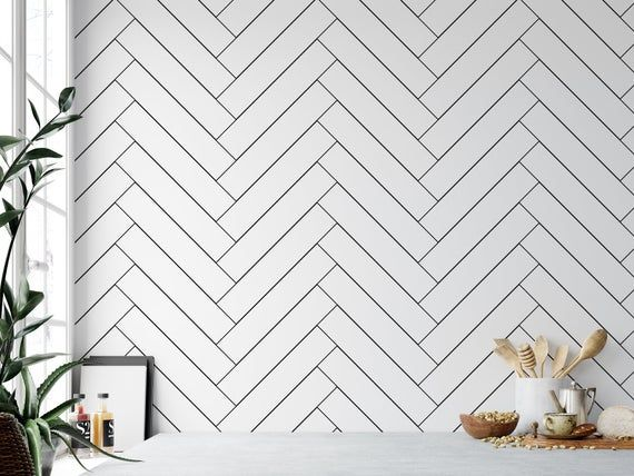 Black And White Herringbone Temporary Wallpaper Peel And Etsy Temporary Wallpaper Washable Wallpaper Tile Stickers Kitchen
