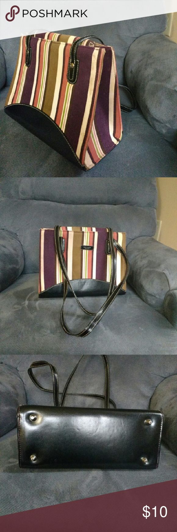 Cute Striped Shoulder Bag Cute brushed corduroy shoulder bag with mint faux leather bottom and straps.   mint condition very nice mix of colors.  From a smoke and pet free location. Bags Shoulder Bags
