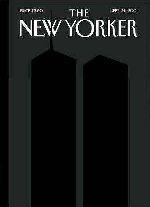 September 24, 2001 - Françoise Mouly and Art Spiegelman. The silhouetted Twin Towers were printed in a fifth, black ink, on a field of black made up of the standard four color printing inks. An overprinted clear varnish helped create the ghost image. Más