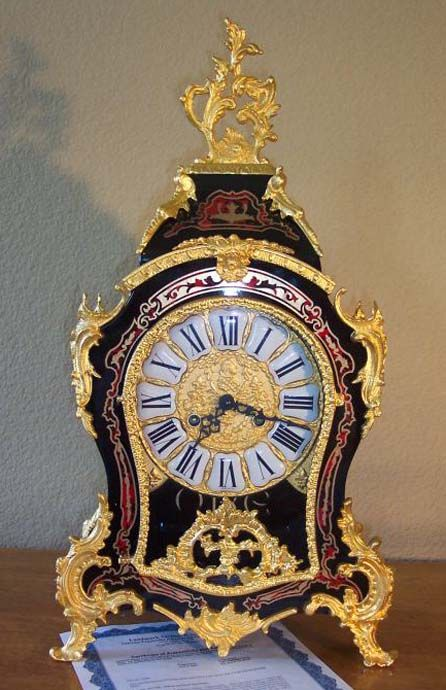 Le Ore Italian Inlay Vintage Clock with 24 K Gold