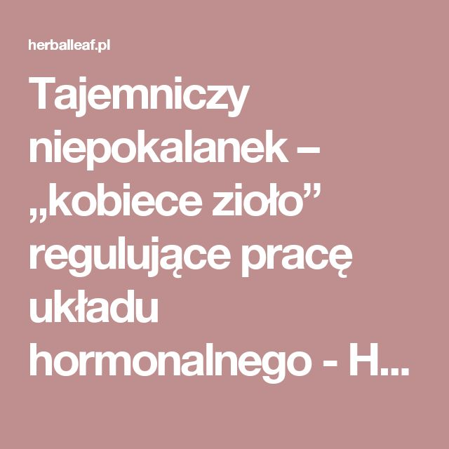 """Tajemniczy niepokalanek – """"kobiece zioło"""" regulujące pracę układu hormonalnego - Herballeaf.pl"""