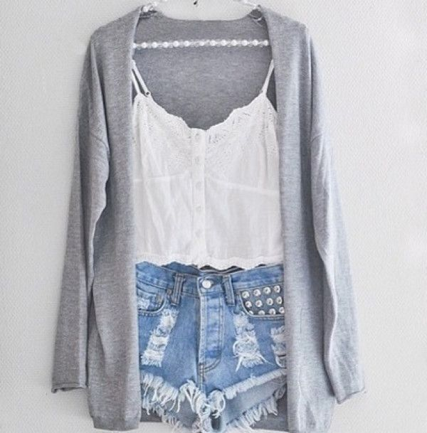 Blouse: shorts shirt tank top high waisted short cardigan cute white studs lace sweater grey fall