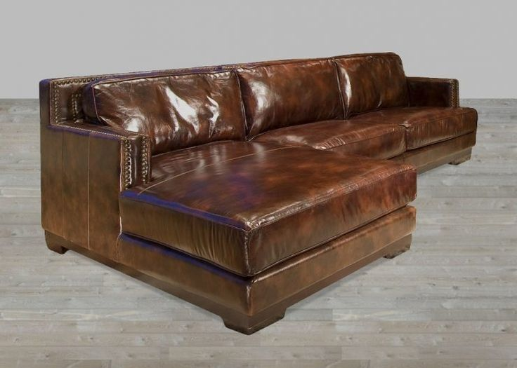 Brown Leather Chaise Sectional Modern Design