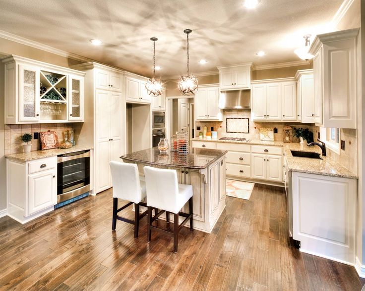 White enamel cabinets and built in wine fridge scheme in for White enamel kitchen cabinets