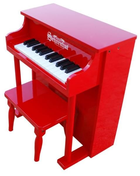 Schoenhut 25 Key Traditional Spinet Piano in Red for Kids