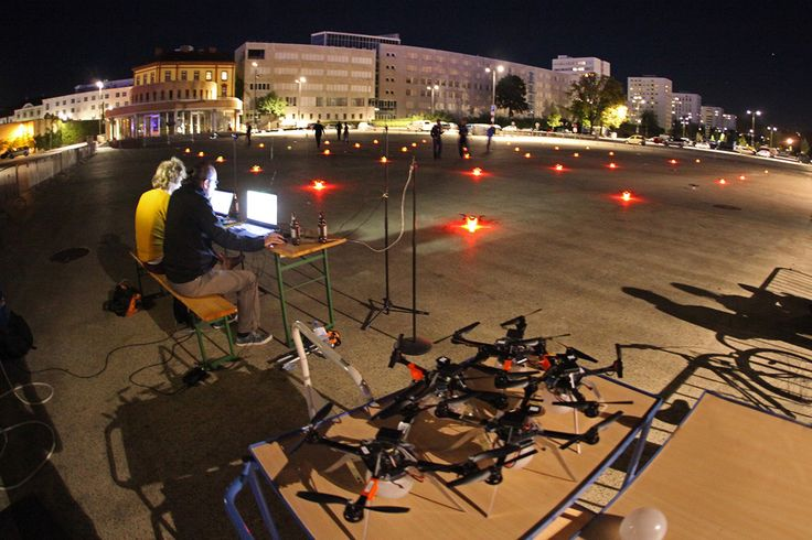 Our fellow AEC Futurelab crew developed a system capable of realistically coordinating the flight behavior of 50 of these quadrocopters including correcting for any position determination errors attributable to the GPS.