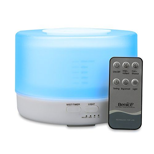 Kumiba 500ml with Remote Control Humidifier Aromatherapy Essential Oil Diffuser with 7LED Mood Light Automatically Shut off Suitable for Bedroom Living room Baby Yoga or Spy