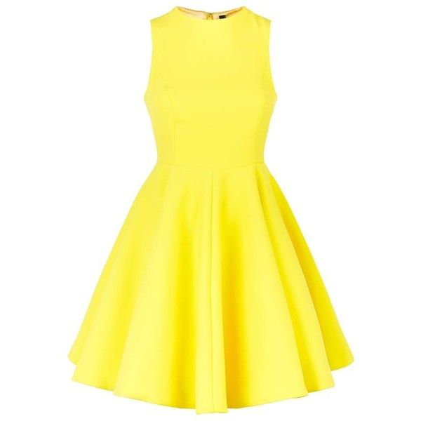 AQ/AQ Robyn Flare Mini Dress found on Polyvore featuring dresses, short yellow dress, short flare dress, skater skirt, flared skirt and flare dress