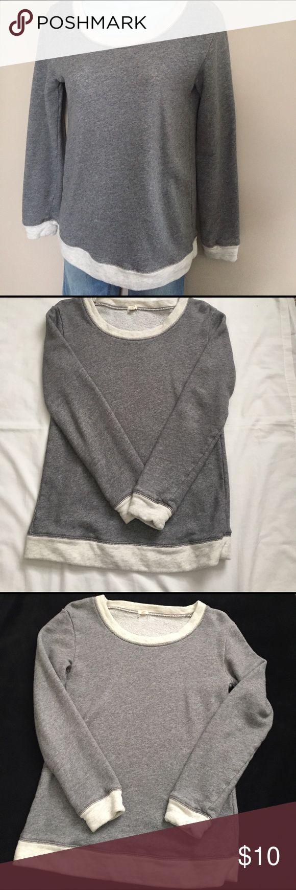 J Crew XS Sweatshirt Longer So Cute J Crew X Small longer Sweatshirt .  Shirt is gray with light gray trim at neck , wrists and bottom .  Excellent condition and smoke free home .  Looks great with leggings and any jeans or pants ! J. Crew Tops Sweatshirts & Hoodies