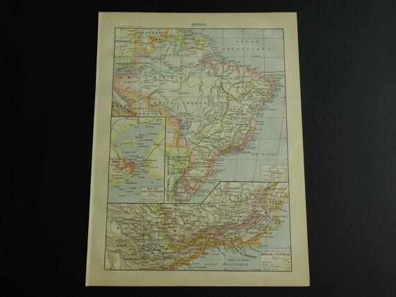 BRAZIL old map of Brazil 1902 original antique by DecorativePrints