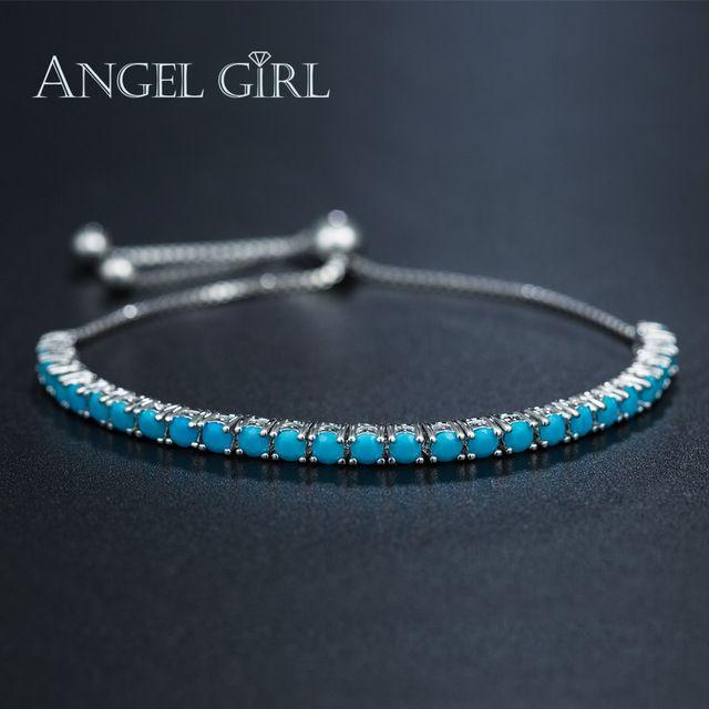 Angel Girl platinum покрытием браслет femme бирюзовые браслеты и браслеты подвески браслеты для женщины мужчины ювелирные изделия рождественский подарок