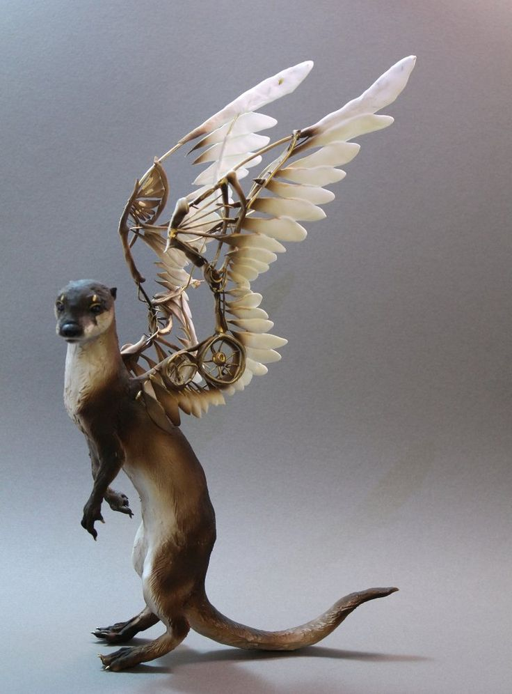 Otter with mechanical wings by creaturesfromel #steampunk #sculpture #art