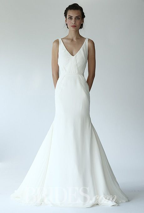 Lela Rose - Fall 2014 - The Castle  Silk Crepe V-Neck Mermaid Wedding Dress with Lace Inserts |