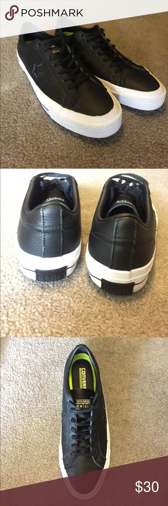 Converse CONS One Star Pro low top Black leather converse CONS that have never been worn! Thick padding insole with copyrighted lunarlon technology. Classic all black converse lows! Not chuck Taylor's style. Converse Shoes Sneakers