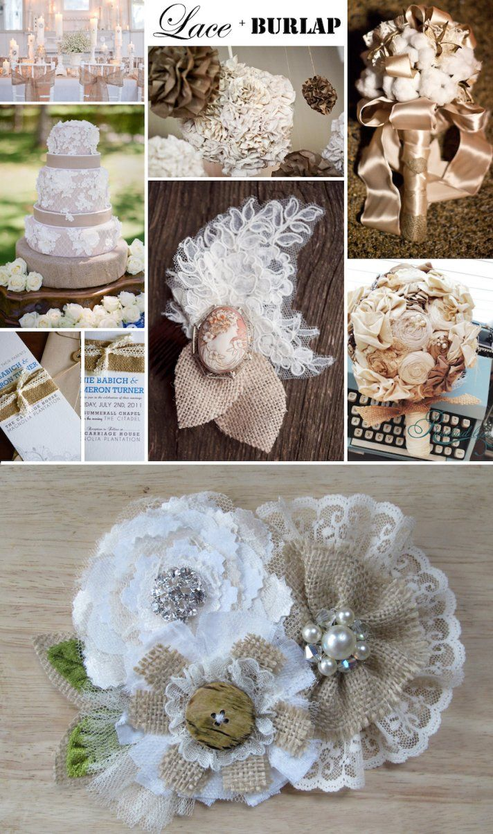 Burlap-lace-rustic-wedding-accessories-romantic-wedding-ideas~Don't forget personalized napkins for all of your wedding events! Our creme napkins would match this theme perfectly!~ #country www.napkinspersonalized.com