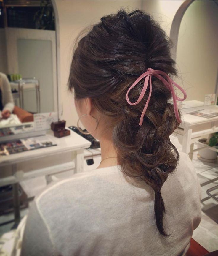 today's hair style☆  こちらも簡単☆ 上をくるりんぱして、下は3本三つ編み。それをまた三つ編みして完成〜  #ヘアセット #セット #ヘアアレンジ #アレンジ #テールスタイル #くるりんぱ  #波ウェーブ #三つ編み #三つ編みテール #三つ編みアレンジ #ふわふわ #モフモフ #リボン #シンプル #結婚式 #ルーズ  #フェミニン #ブライダル #パーティー #二次会 #こなれ感 #ありがとう #京都 #京都駅前 #t2style #love  #courarir #courarirhair #courarirkyotoekimae #courarirhairkyotoekimae