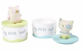 Silver Cross Owl and the Pussy Cat Baby 1st Tooth & Curl Resin Boxes in Gift Box