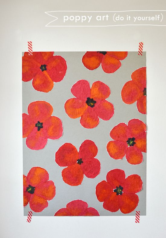 DIY Poppy Art! It's hard to believe what you can make with coffee filters! This is a very fun and easy project with beautiful, fail-proof results. Make this eye-popping Merimekko inspired pattern and frame it for your wall. Kids and grownups both will love painting on coffee filters. Serisously, it is mesmerizing. The paint gets soaked up and it's just so cool to watch the colors blend.
