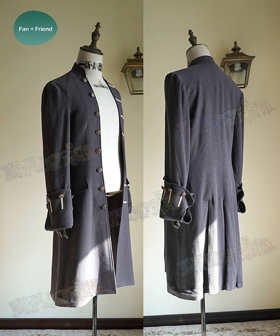 Cosplay Captain Jack Sparrow Trench Coat Costume Pirates of the Caribbean Movie
