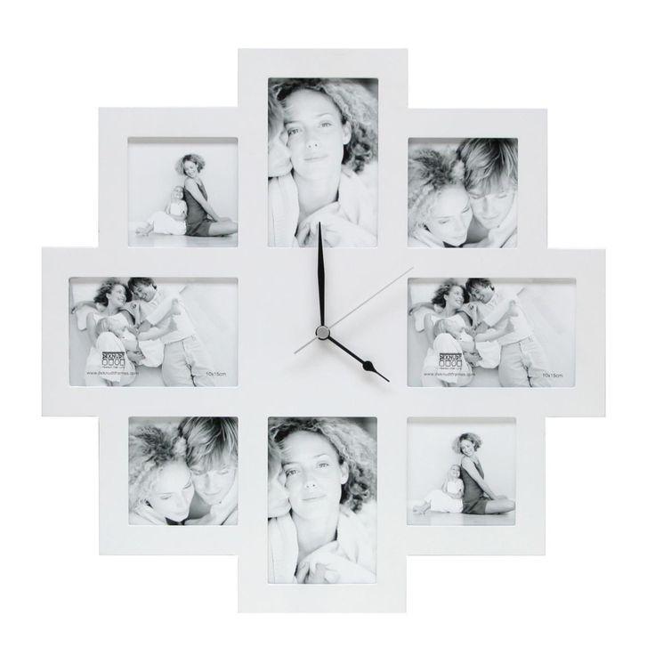 Fotoklok Wit - plaats voor acht foto's