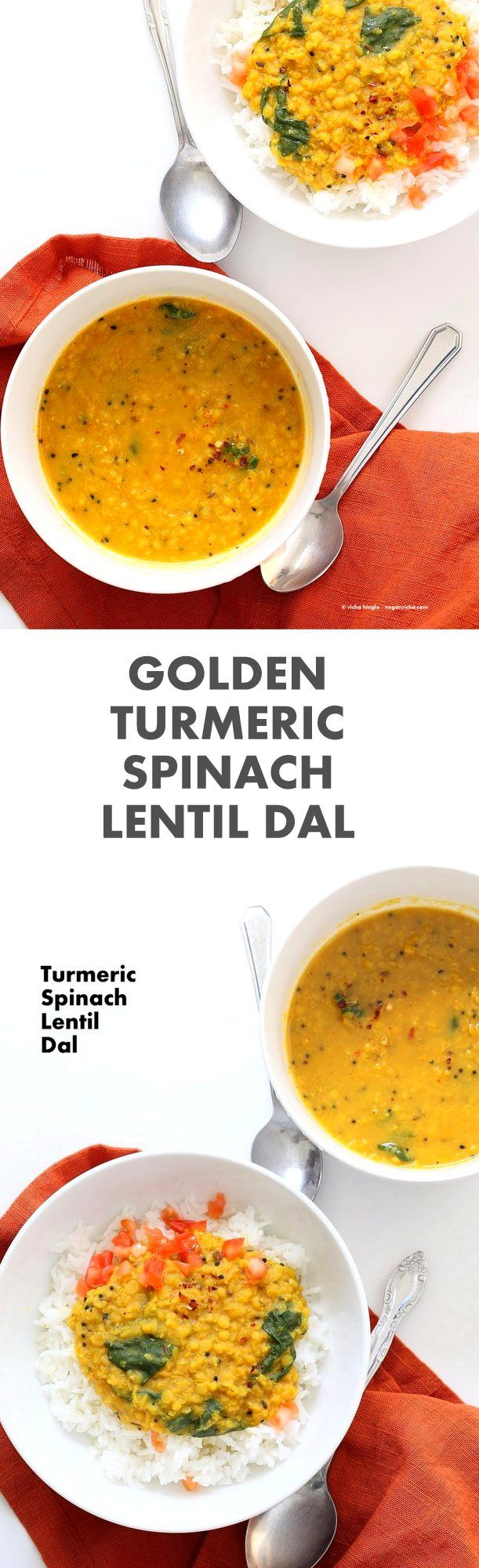 Turmeric Spinach Lentil Dal - Red Lentil Soup. Easy Lentil Soup with turmeric and greens. No garlic no onion Dhal. Golden Lentil Dal. #Vegan #Glutenfree #Soyfree #Recipe.| VeganRicha.com