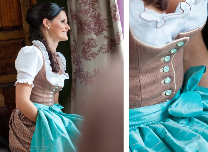 """Love the mocha and turquoise palette of this """"Kathi"""" dirndl by Susanne Spatt. #turquoise #brown #dirndl #dress #German #folk #costume"""