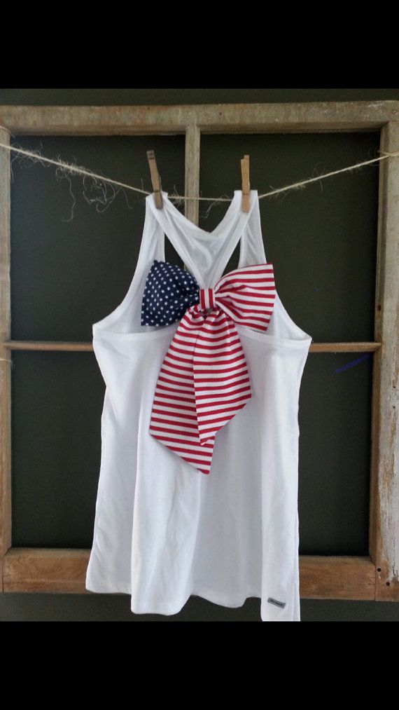 so easy! tie some red, white and blue ribbon or fabric into a bow in the back of a racerback tank for 4th of July!