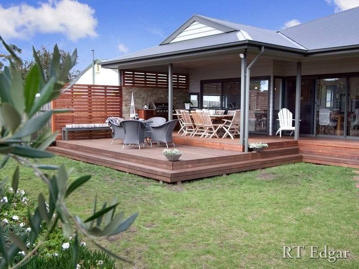 Idea for decking at rear multi level stepping down to Outdoor living areas images