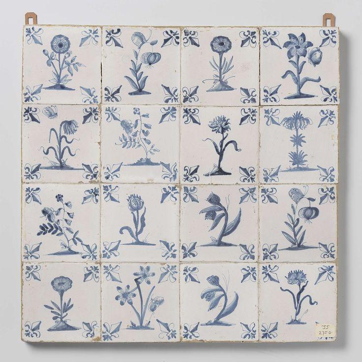 Veld van zestien tegels met bloemen, anonymous, c. 1640 - c. 1660