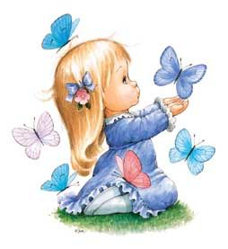 Ruth Morehead illustration little girl with butterflies