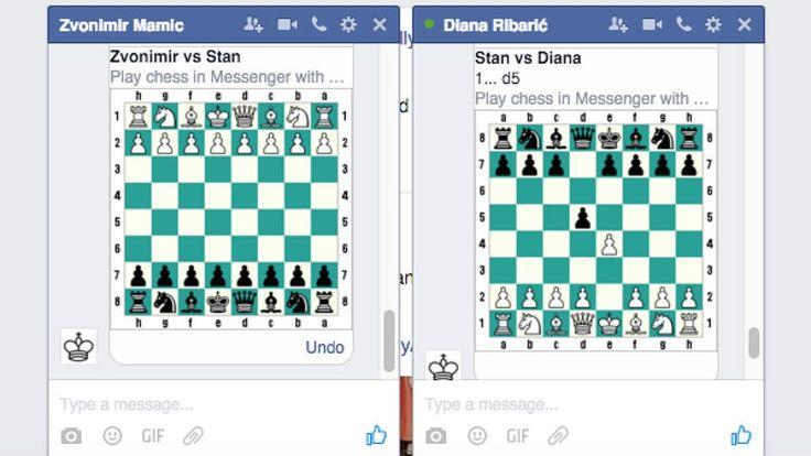 Tabuleiro do jogo surge na caixa de diálogo do Messenger após envio do comando