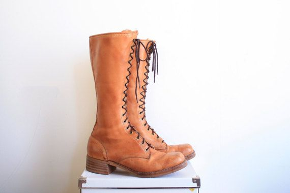 1970s lace-up leather lumberjack boots with a thick stacked leather heel // mens size 11 women size 12-13  wide