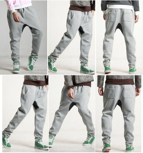 Зима мужские брюки мода перевозка груза падения промежность тощие брюки мужские хип-хоп костюм танец гарем штаны мужчины бегунов спортивные брюки