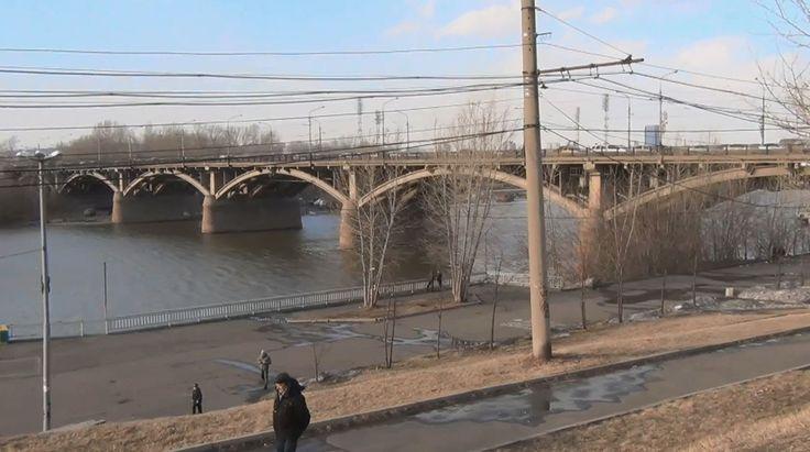 Коммунальный мост видео высокой четкости через реку Енисей. Красноярск