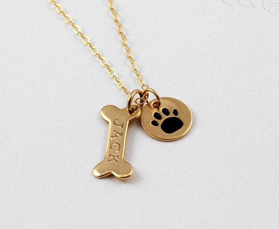 Name Necklace, Dog Paw Necklace, Pet Jewelry, Gold Personalized Dog Necklace, Silver Paw Print, Dog Bone Initial Charm, Gift for Pet Lover