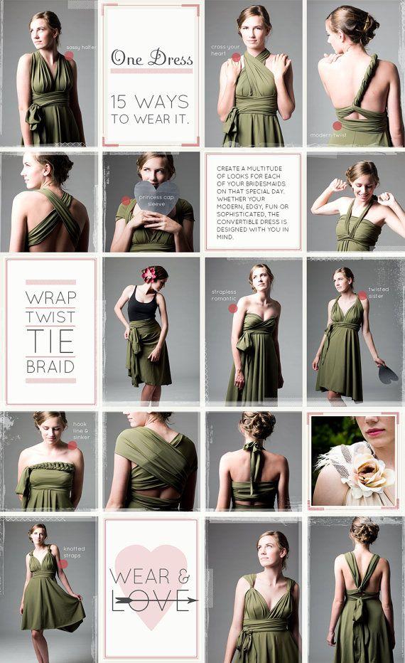fun ways to tie the twist dress : dessy twist wrap dress : convertible bridesmaid dress