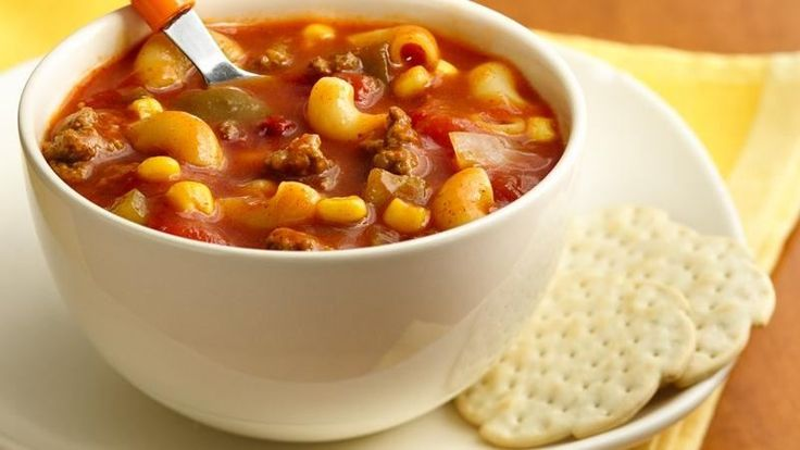 Cook an easy hearty soup with Hamburger® Helper. Get a head start by using thawed Make-Ahead Ground Beef in place of the ground beef, onion and garlic salt.