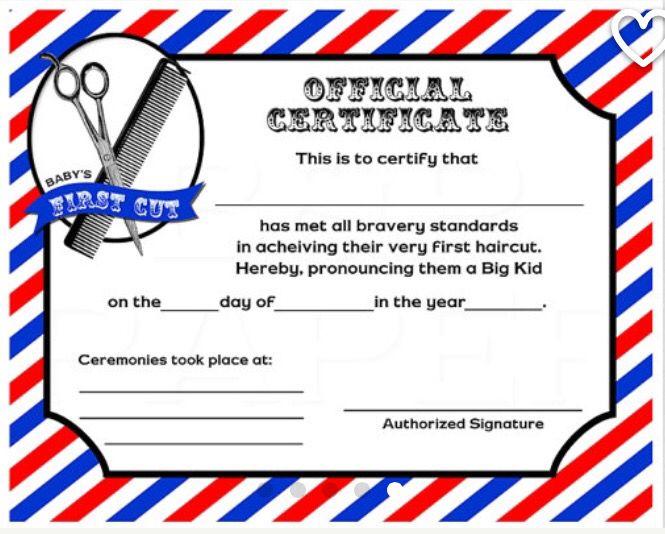 Free First Haircut Certificate Nurufunicaasl