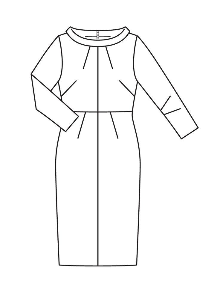 Платье узкого кроя - выкройка № 111 A из журнала 8/2017 Burda – выкройки платьев на Burdastyle.ru