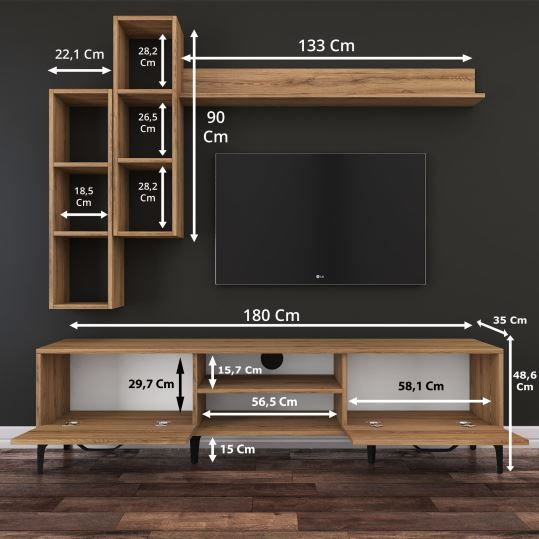 Rani A10 Duvar Raflı Kitaplıklı Tv Ünitesi Duvara Monte Dolaplı Metal Ayakl…