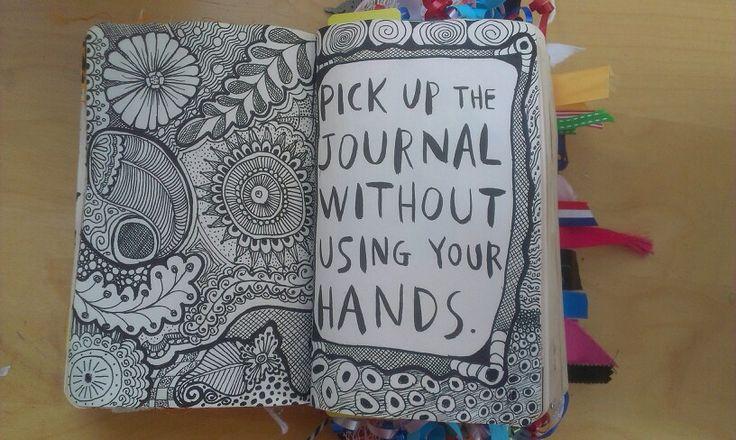 """Zentangle pagina gemaakt in mijn """"wreck this journal""""."""