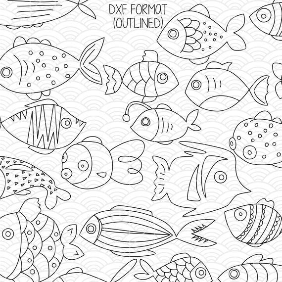 Hand Drawn Fish Clip Art Tropical Fish Outline Illustration Etsy Drawn Fish Fish Outline How To Draw Hands