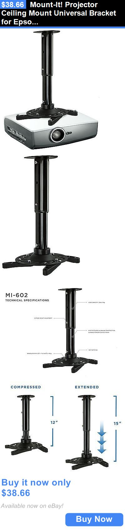 Projector Mounts and Stands: Mount-It! Projector Ceiling Mount Universal Bracket For Epson Benq Optoma Vie... BUY IT NOW ONLY: $38.66
